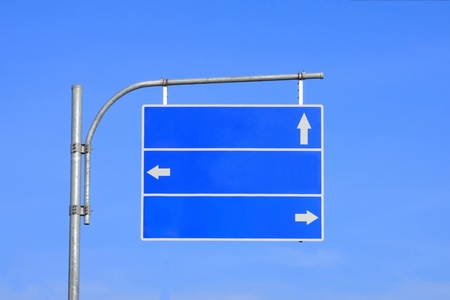 Blank road sign, three arrow blue with clear sky ready for your custom text .