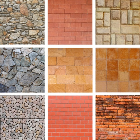 set of stone and brick wall Stock Photo - 9175726
