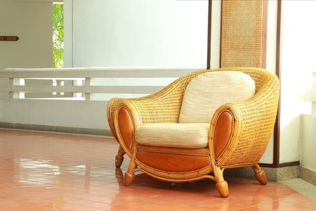 beautiful interior with wicker chair photo