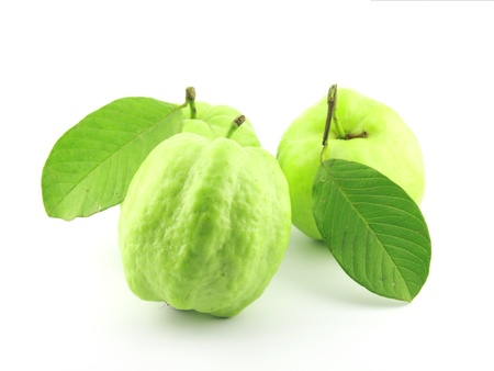 Guavas with leaves on white background Stock Photo - 10577532