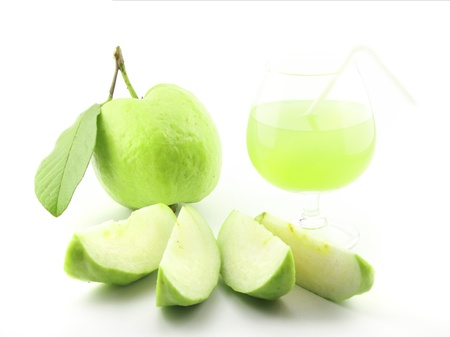 Guavas and guava juice on white background Stock Photo - 10577526