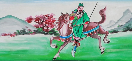 guan-yu dynasty warrior of three kigdom story painted on chinese wall,Thailand.