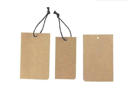 brown paper tags Isolated On White Background. Stock Photo - 11222345