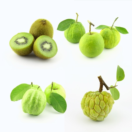 sop: collection of green tropical fruit.kiwi,green-orange,guava, and sugar-apple. Stock Photo