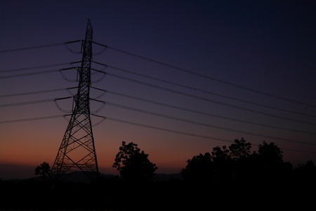 High voltage Electric power lines on twilight sky background Stock Photo - 11542056