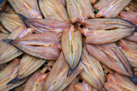 preparation of dried fish on Thailand local market  photo