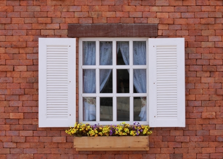 classic window on vintage wall background