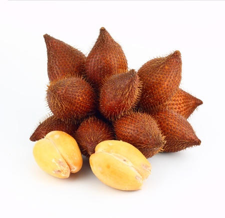 Sala or Zalacca, sweet and sour fruit from Asia  on white background  photo