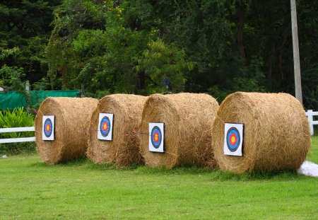 archery target practice made from rolling haystack. photo