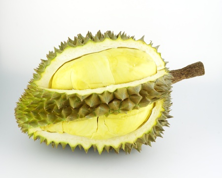 Durian fruit on white background, Durian is king of tropical fruit  Stock Photo