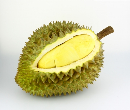 Durian fruit on white background, Durian is king of tropical fruit  photo