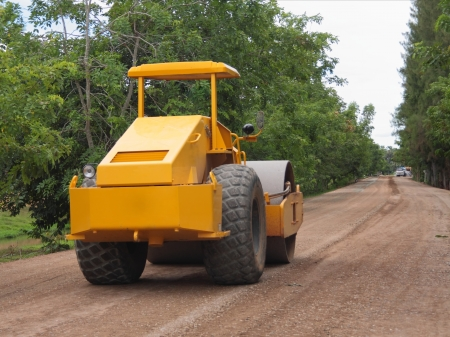 compaction: Road under construction with vibrator compaction machinery
