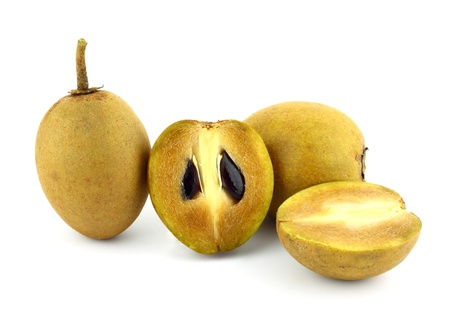 fresh Sapodilla fruits on white background photo