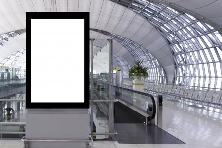 blank advertising board in Suvarnabhumi Airport