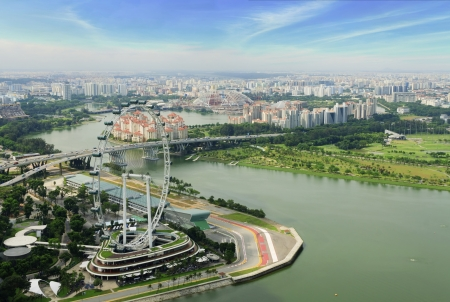 Aerial  view of singapore flyer in day time