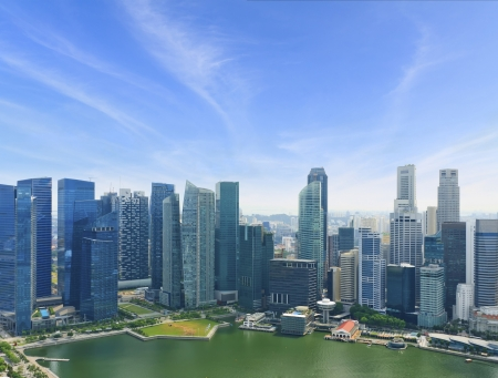 bird s eye view of The Singapore Business center  Stock Photo