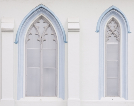 trefoil: Gothic windows of chuch in singapore  Stock Photo