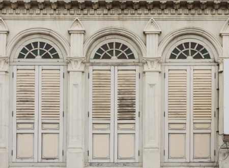 Image of old Chino-Portuguese windows  European Retro  architecture style in old town singapore