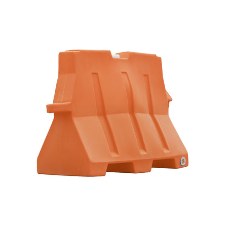 red plastic barriers blocking the road isolated on white background  photo