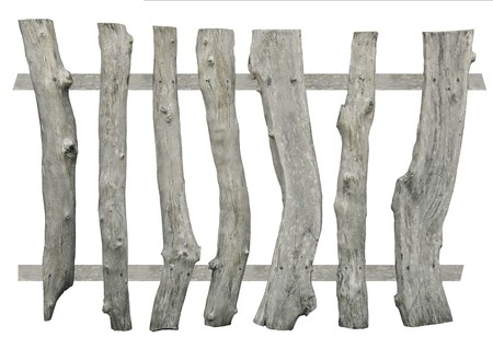 Old wood fence isolated on white background photo