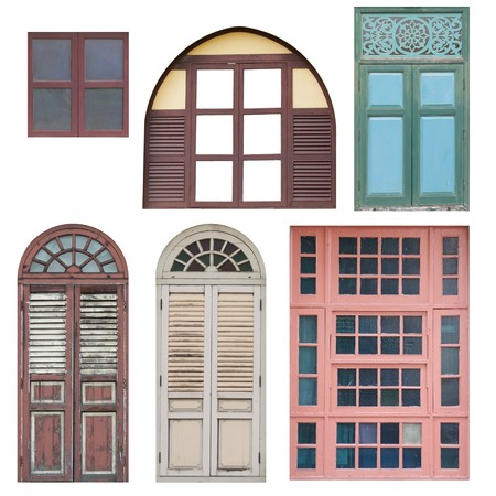 Set of wooden doors and windows isolated on white background  photo