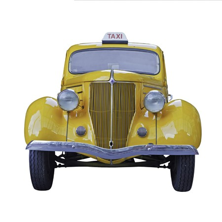 taxicab: A yellow vintage taxi car isolated on white background