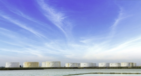 large storage tanks  for petrol and oil with blue sky background  Editorial