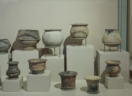 Ancient Asia clay pots in a  museum of Ban Chiang, Thailand