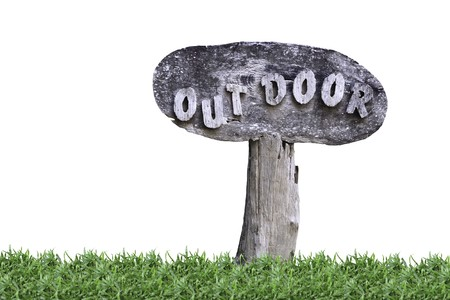 Old weathered wood sign with isolated on white photo