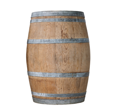 oaken: Wooden barrel  Isolated on white background