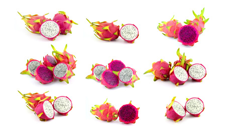 collection of fresh dragon fruit on white background