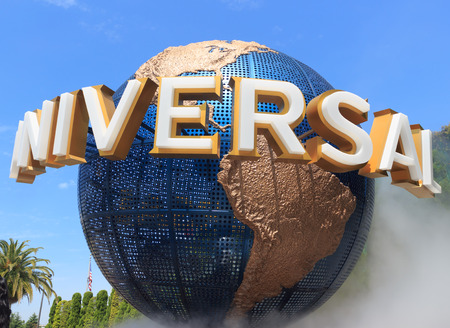 Osaka Japan  April 27: View of Universal Globe outside the Universal Studios Theme Park in Osaka Japan on  April 27 2015. The theme park has many attractions based on the film industry.