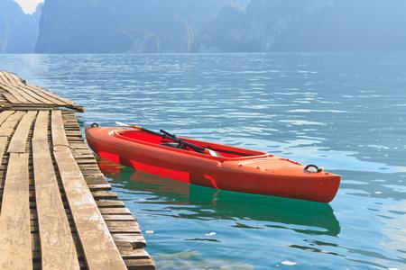 kayak boat against mountain and lake. Chiao Lan dam,Surat Thani , Thailand.