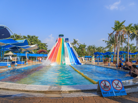 Thailand, Bangkok October 28,2017 : Unidentified people enjoy at  tower of power water attraction in Siam Park. Siam Park, is the most spectacular theme park with water attractions in Bangkok, Thailand. Editorial