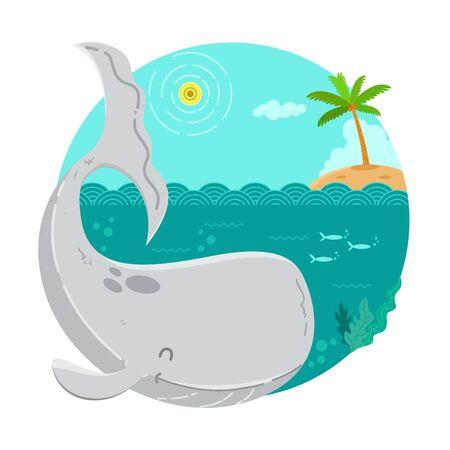 Whale Cartoon Illustratio Ilustracja