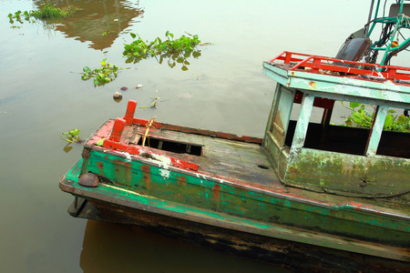 sunk: sunk fishing boat in the river