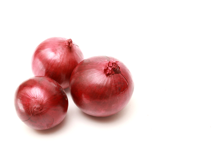 aftertaste: isolated three red onion on white background