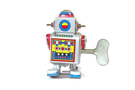 tin robot: isolated vintage, retro tin robot, back, rear view with key on white background