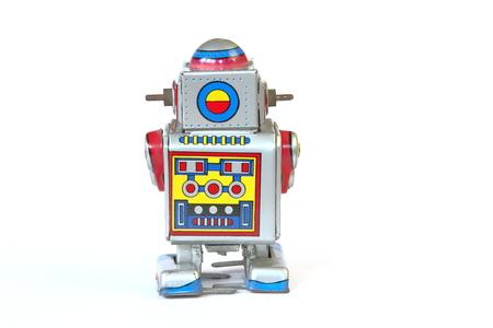 tin robot: isolated vintage, retro tin robot, back, rear view without key on white background Stock Photo