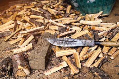 Firewood cut using a cleaver or a machete