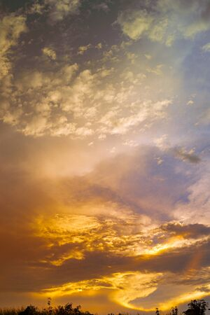 Various colors of the sky at dusk Stock Photo