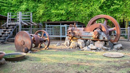Old machinery that was displayed in the park