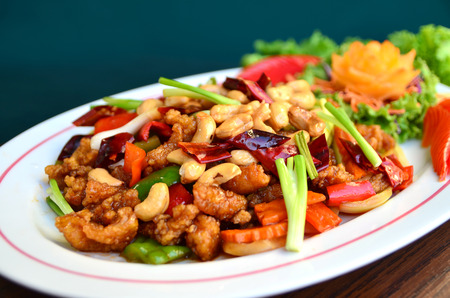 cashew nuts: Stirfried chicken with cashew nuts delicious Thaifood