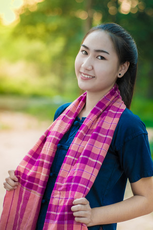 women s health: Asian woman in countryside of Thailand.Women wearing traditional dresses. Stock Photo