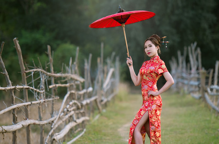 Chinese women in red dress Stock Photo