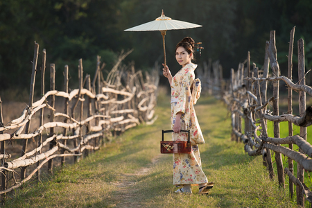 Japanese women wear kimono holding umbrellas and lunch boxes.