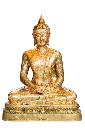 Buddha in meditation isolated over a white background,Gold leaf