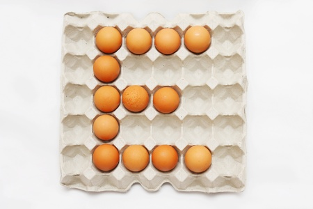 eggs in cardboard container  Stock Photo