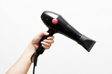 hairdryer: Hand holding a black hairdryer with white background