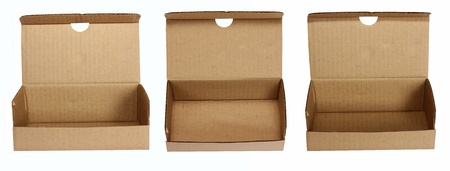 Brown paper box on white isolated background  photo